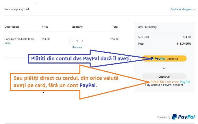 Platiti din Paypal cotul sau direct de pe card, fara un cont Paypal